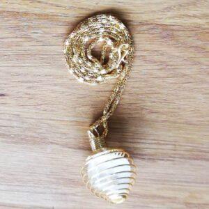 Guldbelagt kæde med holder