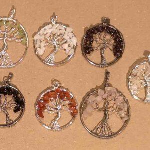 Livets træ i forskellige sten og krystaller
