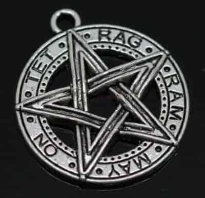 Tibetansk sølv pentagram med gotiske inskriptioner 28×25 mm