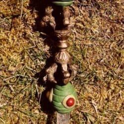Tibetansk Healing stav med Dorje og rosenkvarts kugle samt bjergkrystal spids 210 gr