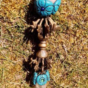 Tibetansk Healing stav med Dorje og rosenkvarts kugle samt bjergkrystal spids 267 gr