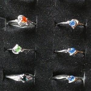 Sølvbelagt ring med rhinsten vælg selv farve str. 55