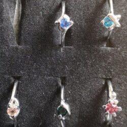 Sølvbelagt ring med rhinsten vælg selv farve str. 52