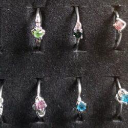 Sølvbelagt ring med rhinsten vælg selv farve str. 53