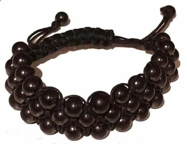 Oriental Shungit armbånd med 3 rækker perler