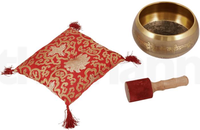 Tibetansk syngeskå no 12, 3,38 kg rød/sort pude og kølle