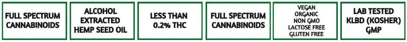 CBD4HARMONY Alkohol udvundet cbd olie fuld spektrum mindre end 0,2% THC, vegansk økologisk laktose fri, gluten fri, ingen gmo, kosher og GMP